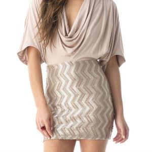NWT sky champagne sequin HILO Mini Dress